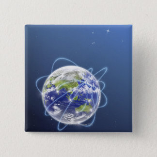 Network Lights Surrounding Earth Pinback Button