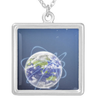 Network Lights Surrounding Earth Square Pendant Necklace