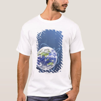 Network Lights Surrounding Earth T-Shirt