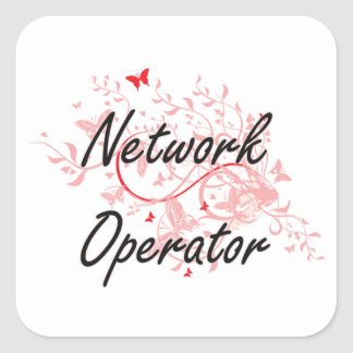 Network Operator Artistic Job Design with Butterfl Square Sticker