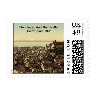Neuchatel, And The Castle, Switzerland 1905 Postage