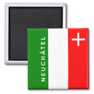 Neuchatel province Switzerland swiss flag text Fridge Magnets