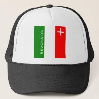 Neuchatel province Switzerland swiss flag text Trucker Hat