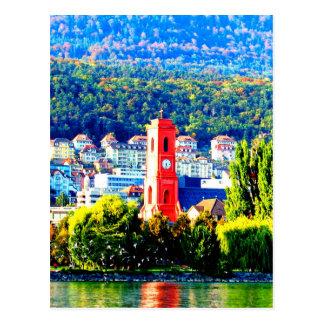 neuchatel switzerland town village forest trees postcard