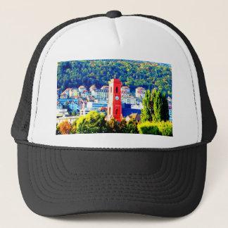 neuchatel switzerland town village forest trees trucker hat