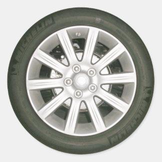 Neumático auto/rueda etiqueta redonda