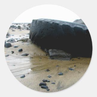 Neumático de la playa pegatina redonda