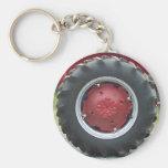 Neumático rojo del tractor llavero redondo tipo pin