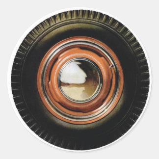 Neumático viejo grande del coche auto retro del pegatina redonda
