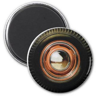 Neumático viejo grande del coche auto retro del vi imán redondo 5 cm