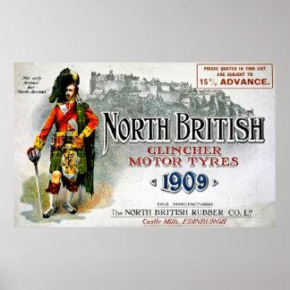 Neumáticos británicos del norte del motor del póster