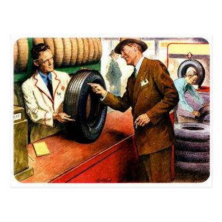 Neumáticos retros de la inflamación del anuncio tarjeta postal