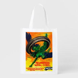 Neumaticos Royal Cord Vintage PosterEurope Reusable Grocery Bag