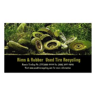 Neumáticos usados que reciclan el centro de la des tarjeta de negocio