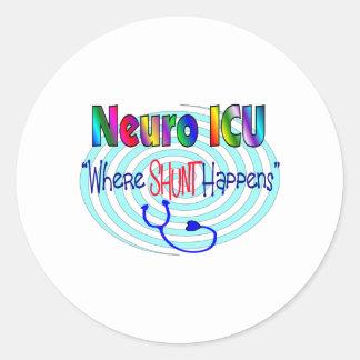 "NEURO ICU ""Where SHUNT Happens"" Classic Round Sticker"
