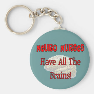 """Neuro Nurses """"Have All The Brains"""" Gifts Basic Round Button Keychain"""