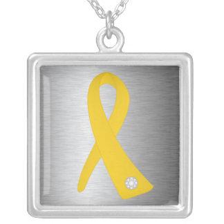 Neuroblastoma Cancer Awareness Ribbon Square Pendant Necklace
