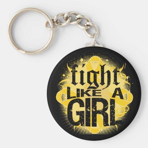 Neuroblastoma Cancer Fight Like A Girl Rock Ed. Keychains