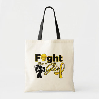 Neuroblastoma Cancer Fight Like A Girl Silhouette Budget Tote Bag