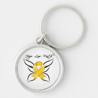 Neuroblastoma Cancer Hope Love Faith Silver-Colored Round Keychain