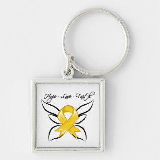 Neuroblastoma Cancer Hope Love Faith Silver-Colored Square Keychain