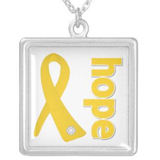 Neuroblastoma Cancer Hope Ribbon Square Pendant Necklace