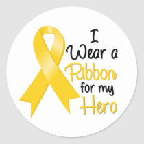 Neuroblastoma Cancer I Wear a Ribbon For My Hero Classic Round Sticker
