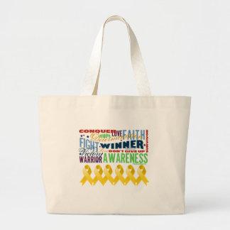 Neuroblastoma Cancer Inspirational Words Tote Bags