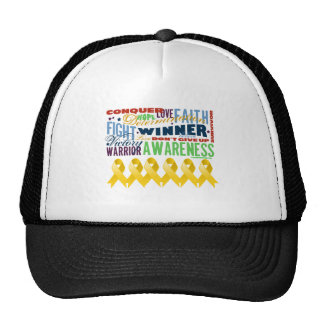 Neuroblastoma Cancer Inspirational Words Hats