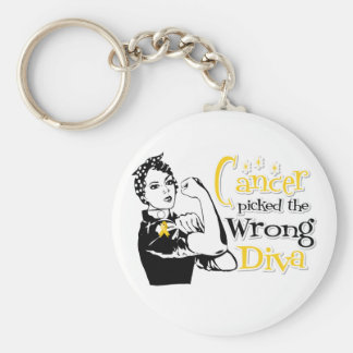 Neuroblastoma Cancer Picked The Wrong Diva Key Chain