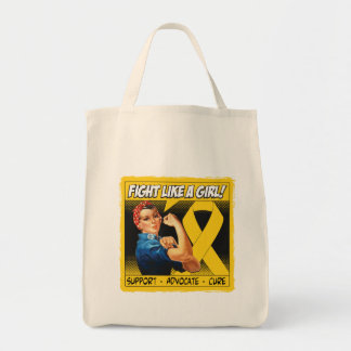 Neuroblastoma Cancer Rosie Riveter - Fight Like a Grocery Tote Bag