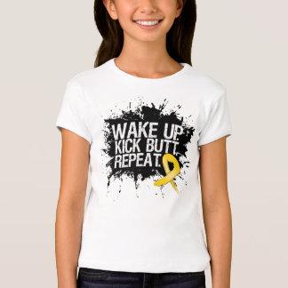 Neuroblastoma Cancer Wake Up Kick Butt Repeat T-Shirt