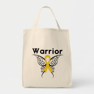 Neuroblastoma Cancer Warrior Tribal Butterfly Grocery Tote Bag