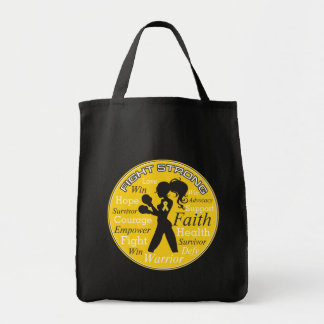 Neuroblastoma Fight Strong Motto Collage Grocery Tote Bag