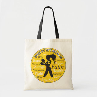 Neuroblastoma Fight Strong Motto Collage Budget Tote Bag