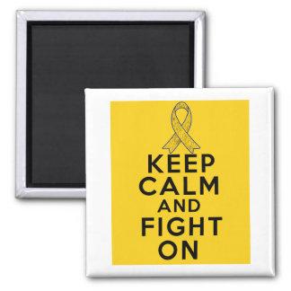Neuroblastoma guarda calma y sigue luchando imán cuadrado