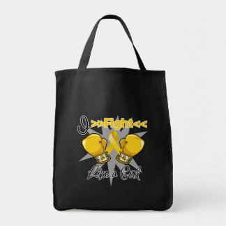 Neuroblastoma I Fight Like a Girl With Gloves Grocery Tote Bag