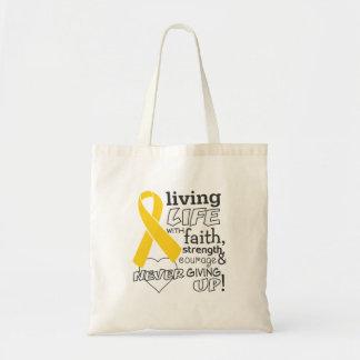 Neuroblastoma Living Life With Faith Canvas Bags