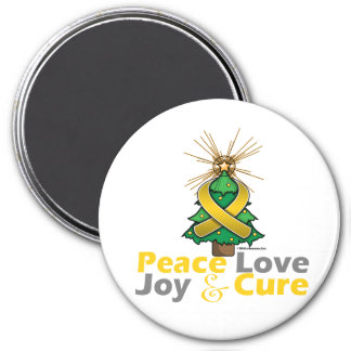 Neuroblastoma Peace Love Joy Cure 3 Inch Round Magnet