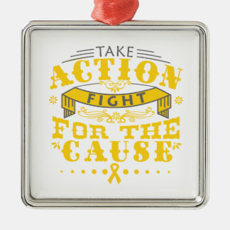 Neuroblastoma Take Action Fight For The Cause Square Metal Christmas Ornament