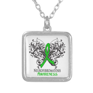 Neurofibromatosis Awareness Butterfly Square Pendant Necklace