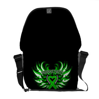 Neurofibromatosis Awareness Heart Wings Messenger Bags