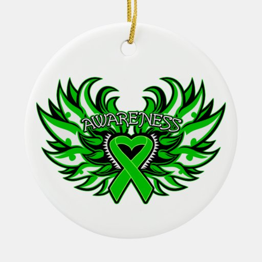 Neurofibromatosis Awareness Heart Wings Christmas Tree Ornaments