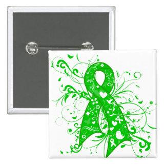 Neurofibromatosis Floral Swirls Ribbon Pin