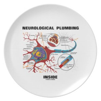 Neurological Plumbing Inside (Neuron / Synapse) Party Plate
