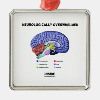 Neurologically Overwhelmed Inside (Brain Humor) Metal Ornament