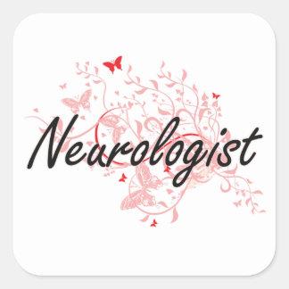 Neurologist Artistic Job Design with Butterflies Square Sticker