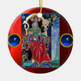 NEUROMANCER,Blue Sapphire Gemstones Double-Sided Ceramic Round Christmas Ornament