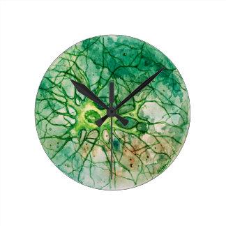 Neuron - Watercolor Green Round Clock