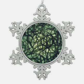 Neurons Snowflake Pewter Christmas Ornament